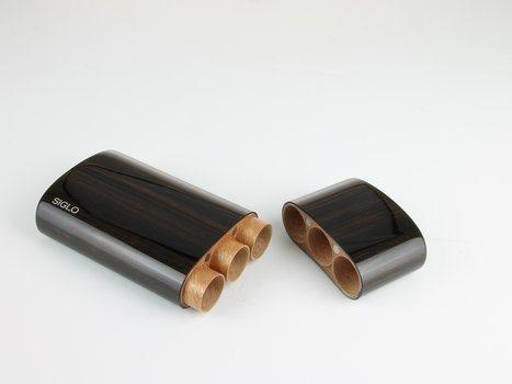 Siglo träfodral ebenholts Corona för 3 cigarrer