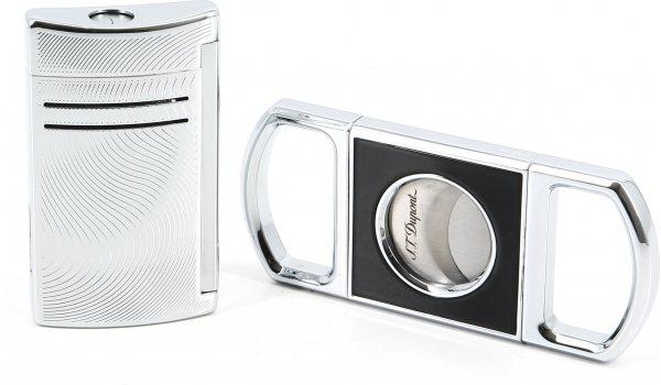 S.T. Dupont Present-kit Cigarrsnoppare och Maxijet Vibration Krom