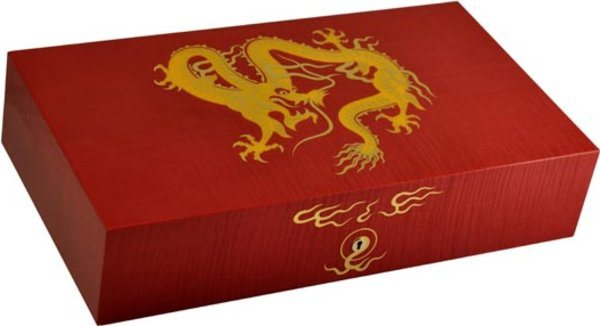 Elie Bleu Golden Dragon Humidor Röd