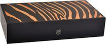 Elie Bleu Safari Zebra Intarsia Humidor 110-Cigarrer Orange