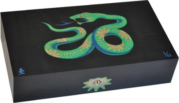 Elie Bleu Sycamore Intarsia Snake begränsad utgåva Humidor svart (Numrerad 1-88)