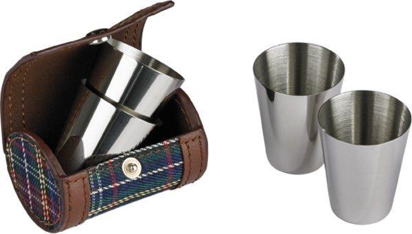 Shotglas i läderfodral/klätt fodral