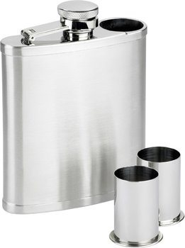 Rostfri stålkolv med 2 shotglas