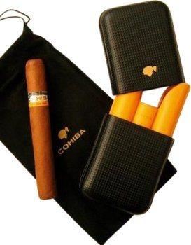 Cohiba cigarretui i läder för tre cigarrer