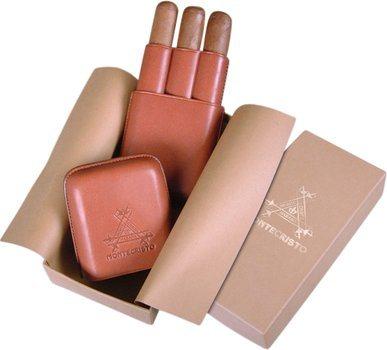 Cigarrfodral Montecristo läder 3 fingrar